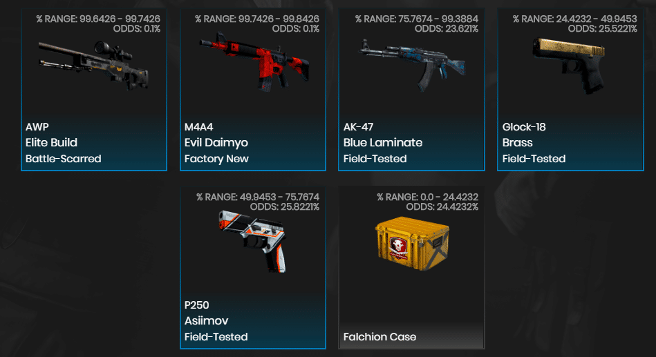 Example of CSGO Case Opening Site Ods